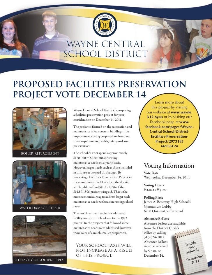 Wayne Centr al                       SChool DiStriCtProPosed Facilities PreservationProject vote december 14              ...