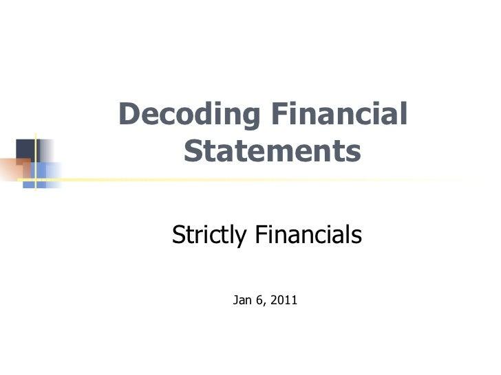 Decoding Financial Statements - Reynolds Week 2011