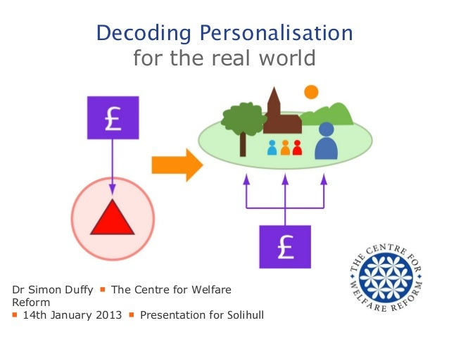 Decoding Personalisation                  for the real worldDr Simon Duffy ■ The Centre for WelfareReform■ 14th January 20...