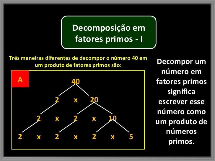 Decompor um número em fatores primos significa escrever esse número como um produto de números primos. Três maneiras difer...