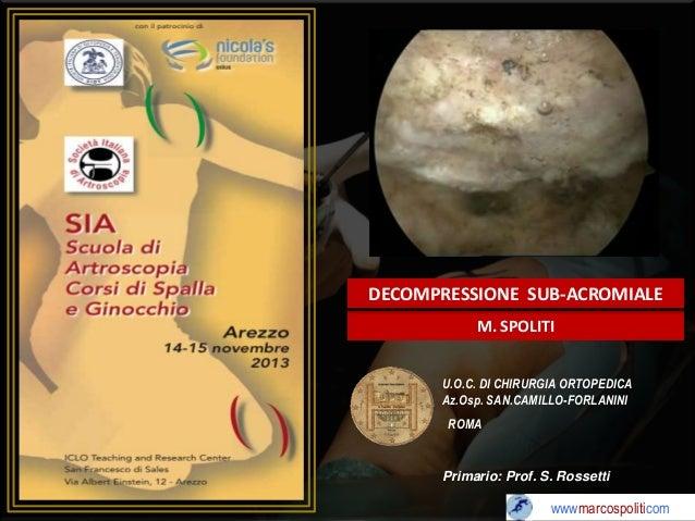 DECOMPRESSIONE SUB-ACROMIALE M. SPOLITI U.O.C. DI CHIRURGIA ORTOPEDICA Az.Osp. SAN.CAMILLO-FORLANINI ROMA  Primario: Prof....