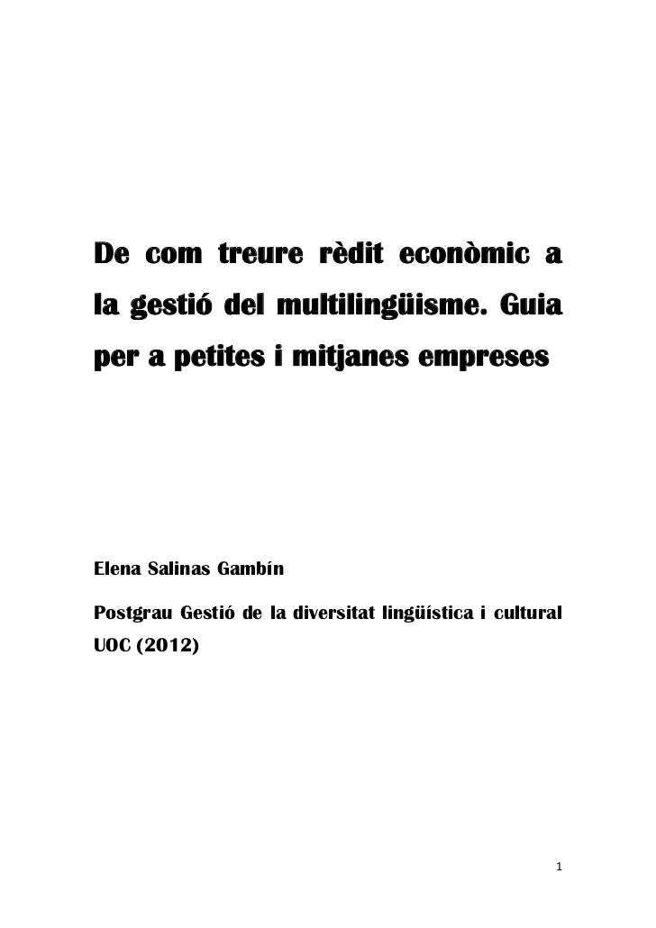 De Com Treure RèDit EconòMic A La Gestió Del MultilingüIsme  Guia Per A Petites I Mitjanes Empreses (2)