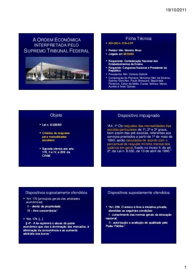 19/10/2011 1 AA OORDEMRDEM EECONÔMICACONÔMICA INTERPRETADA PELOINTERPRETADA PELO SSUPREMOUPREMO TTRIBUNALRIBUNAL FFEDERALE...