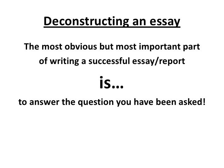 Deconstructing an essay