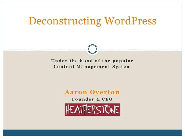 Deconstructing wordpress