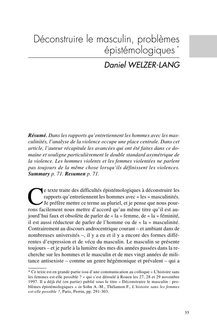 Deconstruire Masculin Welzer Lang +++