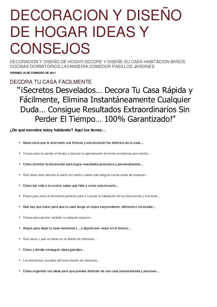 DECORACION Y DISEÑODE HOGAR IDEAS YCONSEJOSDECORACION Y DISEÑO DE HOGAR DECORE Y DISEÑE SU CASA HABITACION BAÑOSCOCINAS DO...