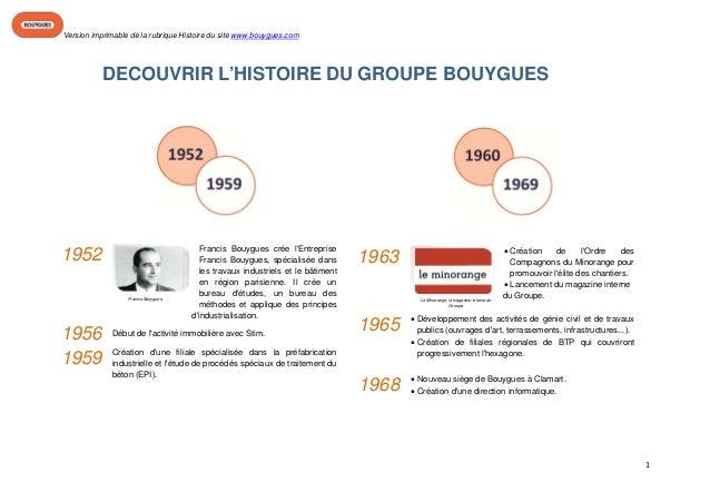 Version imprimable de la rubrique Histoire du site www.bouygues.com                                                     ...