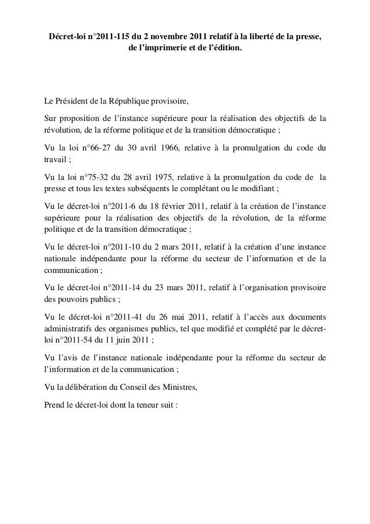 Decret loi 115 du 2 Novembre 2011 sur les medias - Tunisie