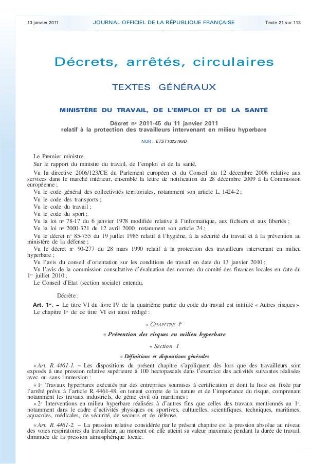 13 janvier 2011 JOURNAL OFFICIEL DE LA RÉPUBLIQUE FRANÇAISE Texte 21 sur 113 . . Décrets, arrêtés, circulaires TEXTES GÉNÉ...