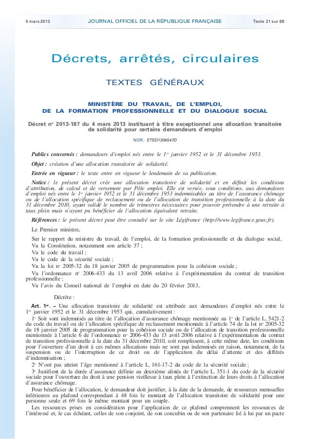 5 mars 2013                 JOURNAL OFFICIEL DE LA RÉPUBLIQUE FRANÇAISE                               Texte 21 sur 89     ...