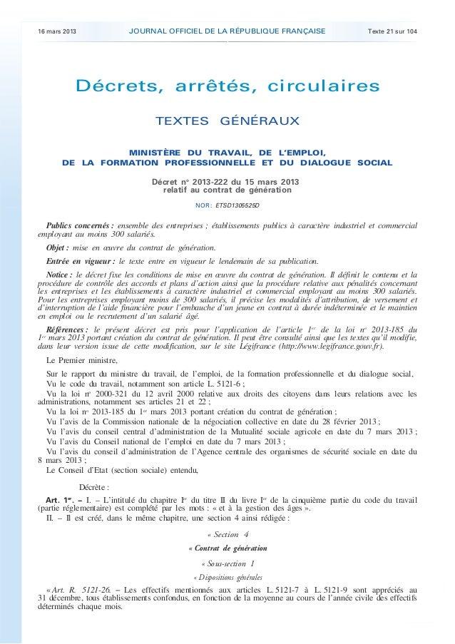 16 mars 2013                 JOURNAL OFFICIEL DE LA RÉPUBLIQUE FRANÇAISE                         Texte 21 sur 104         ...