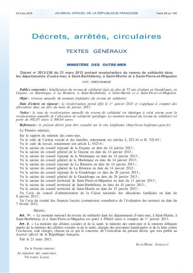 Décret n° 2013-236 du 21 mars 2013 portant revalorisation du revenu de solidarité dans les départements d'outre-mer, à Saint-Barthélemy, à Saint-Martin et à Saint-Pierre-et-Miquelon