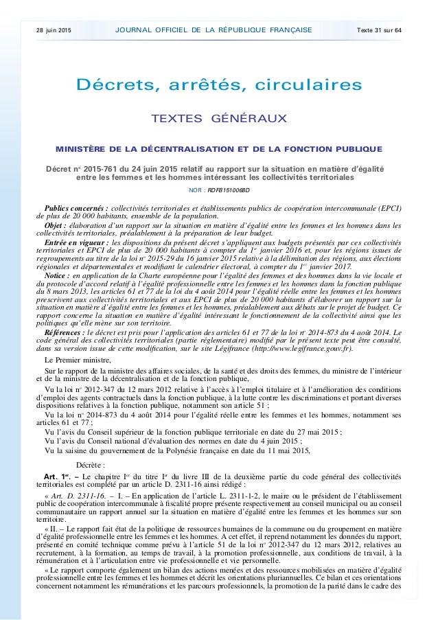 Décrets, arrêtés, circulaires TEXTES GÉNÉRAUX MINISTÈRE DE LA DÉCENTRALISATION ET DE LA FONCTION PUBLIQUE Décret no 2015-7...