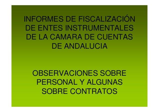 INFORMES DE FISCALIZACIÓN DE ENTES INSTRUMENTALES DE LA CAMARA DE CUENTAS DE ANDALUCIA OBSERVACIONES SOBRE PERSONAL Y ALGU...