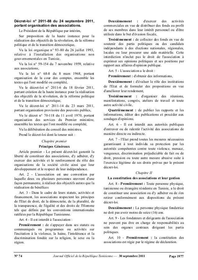 Décret-loi n° 2011-88 du 24 septembre 2011,  portant organisation des associations.  Le Président de la République par int...