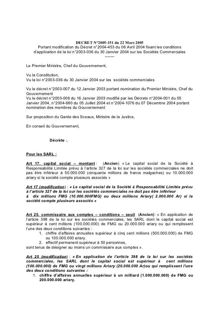 DECRET N°2005-151 du 22 Mars 2005       Portant modification du Décret n°2004-453 du 06 Avril 2004 fixant les conditions  ...