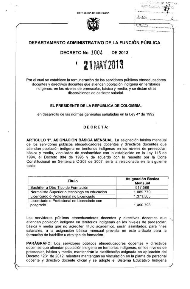Decreto  - 1004 del 21 de mayo de 2013 - salarial etnoeducadores