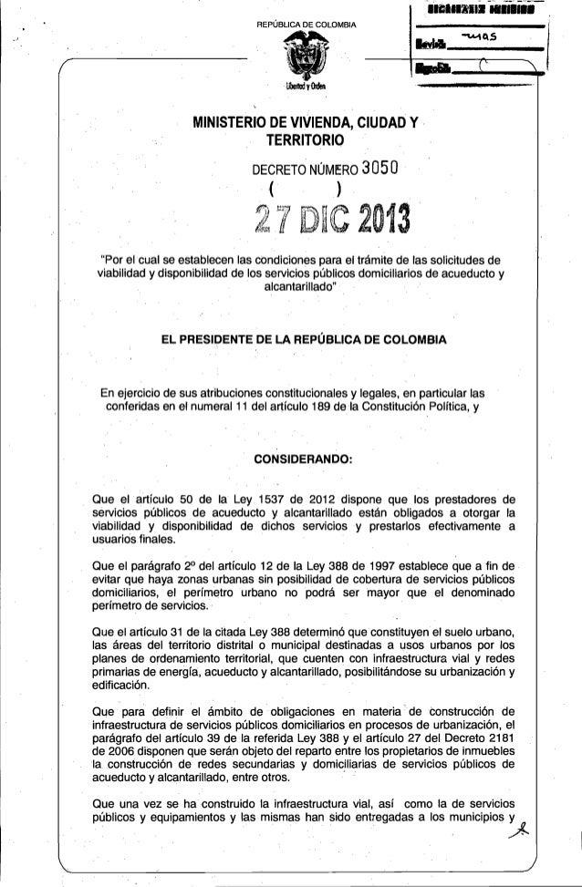 Reglamento: Disponibilidad y Viabilidad De Acueducto y Saneamiento Básico.