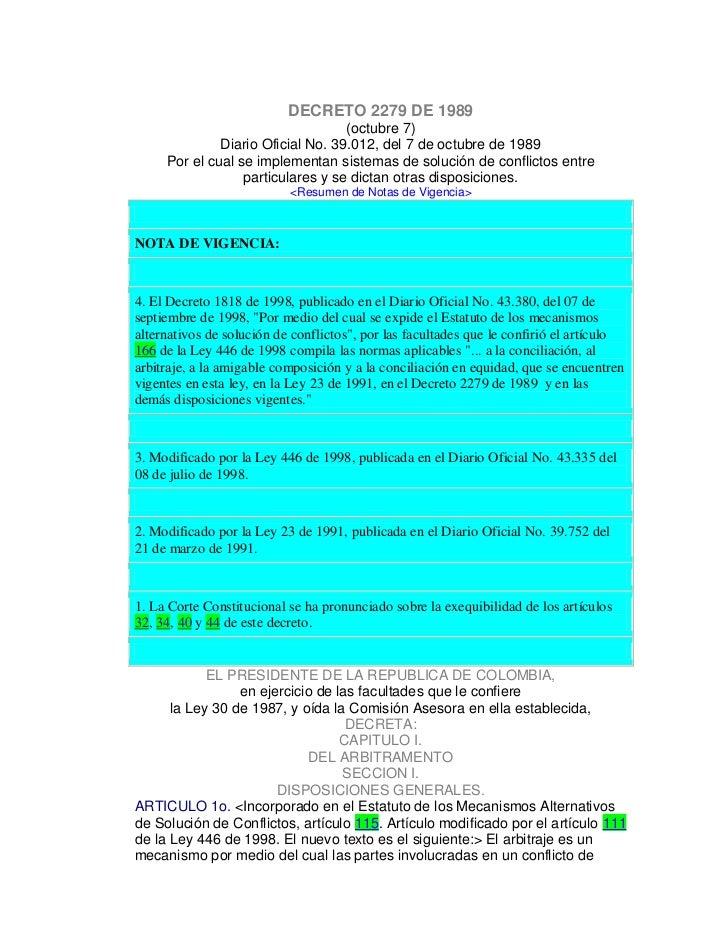 DECRETO 2279 DE 1989                                   (octubre 7)              Diario Oficial No. 39.012, del 7 de octubr...
