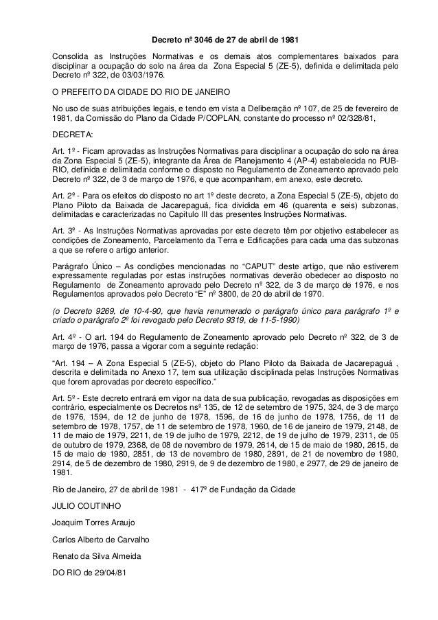 Decreto nº 3046 de 27 de abril de 1981 Consolida as Instruções Normativas e os demais atos complementares baixados para di...