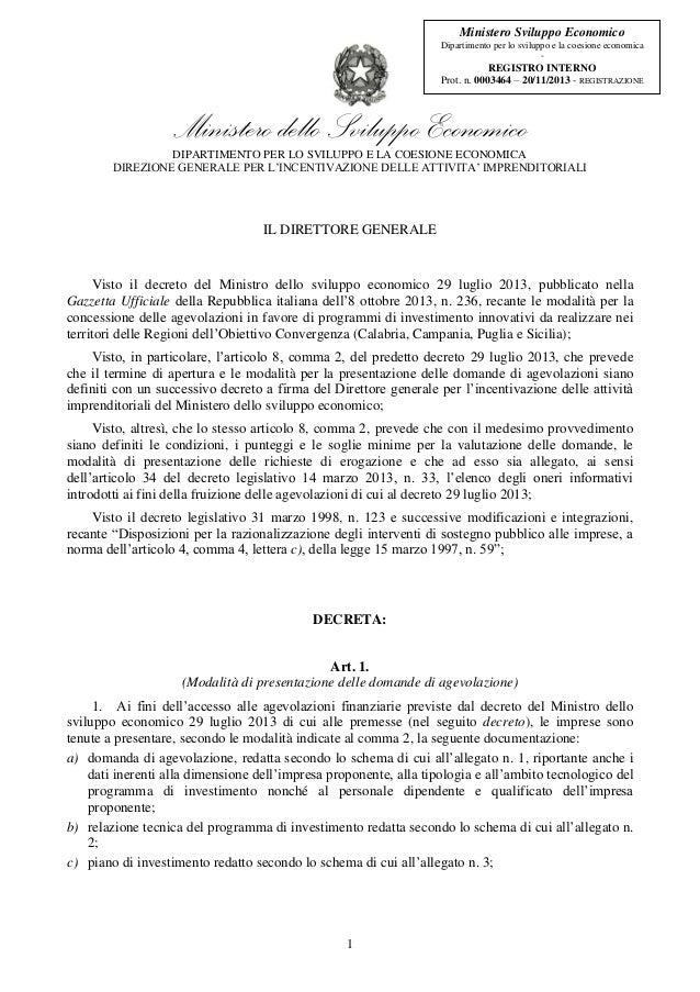 Ministero Sviluppo Economico Dipartimento per lo sviluppo e la coesione economica -  REGISTRO INTERNO Prot. n. 0003464 – 2...