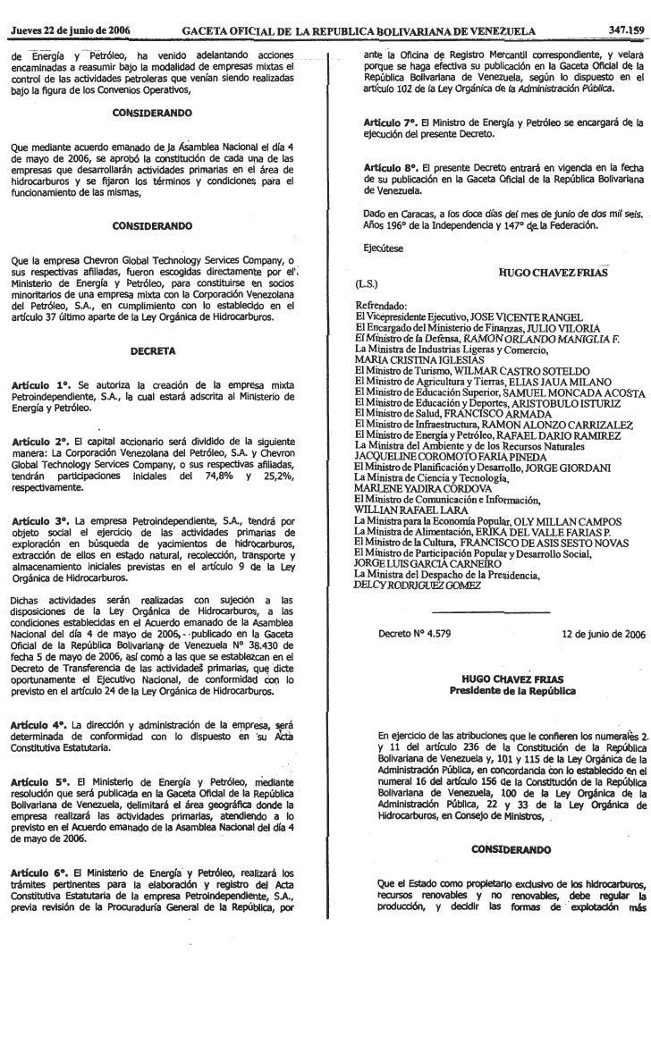 Decreto Nº 4.579, Mediante El Cual Se Autoriza La CreacióN De La Empresa Mixta Petrocaracol, S.A