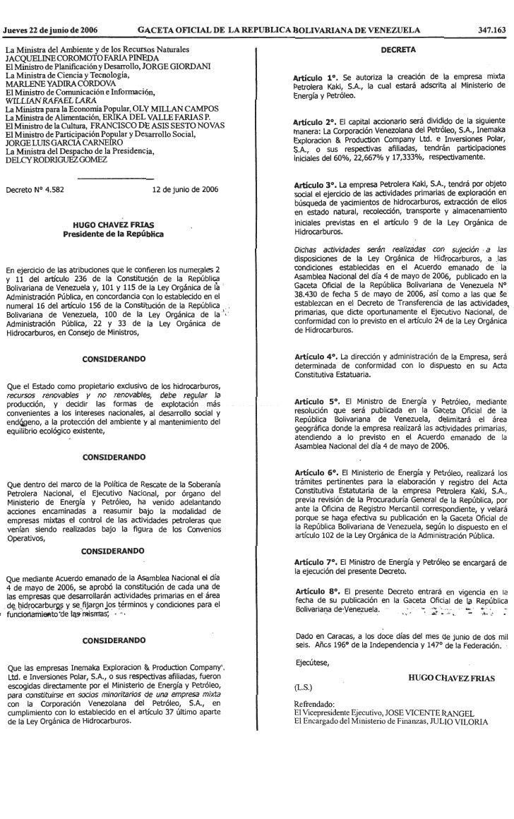 Decreto Nº 4.582, Mediante El Cual Se Autoriza La CreacióN De La Empresa Mixta Petrolera Kaki, S.A