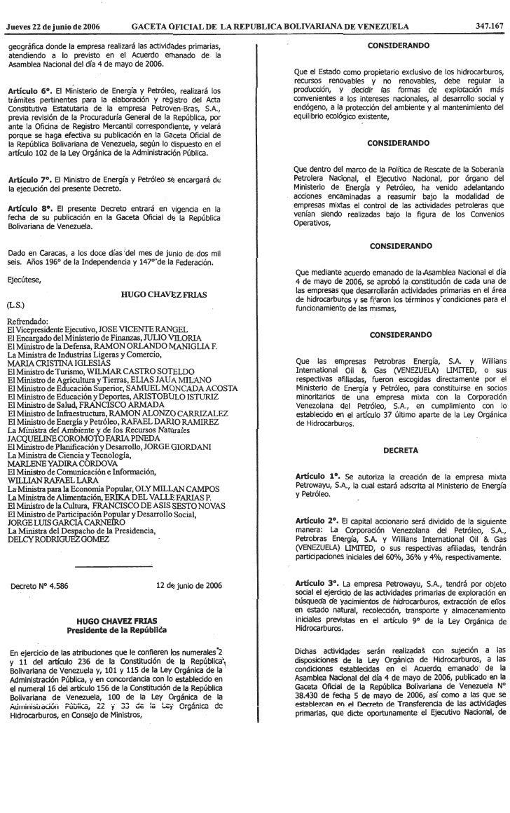 Decreto Nº 4.586, Mediante El Cual Se Autoriza La CreacióN De La Empresa Mixta Petrowayú, S.A