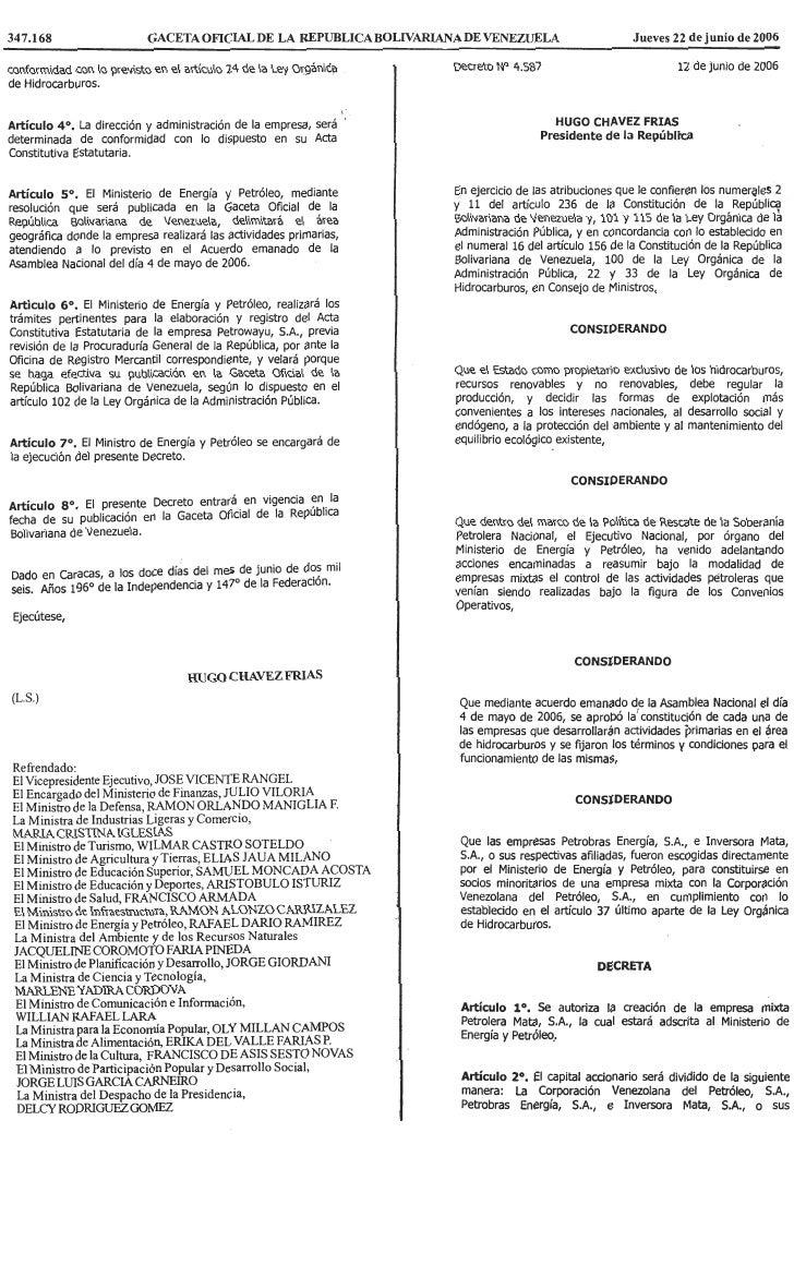 Decreto Nº 4.587, Mediante El Cual Se Autoriza La CreacióN De La Empresa Mixta Petrolera Mata, S.A