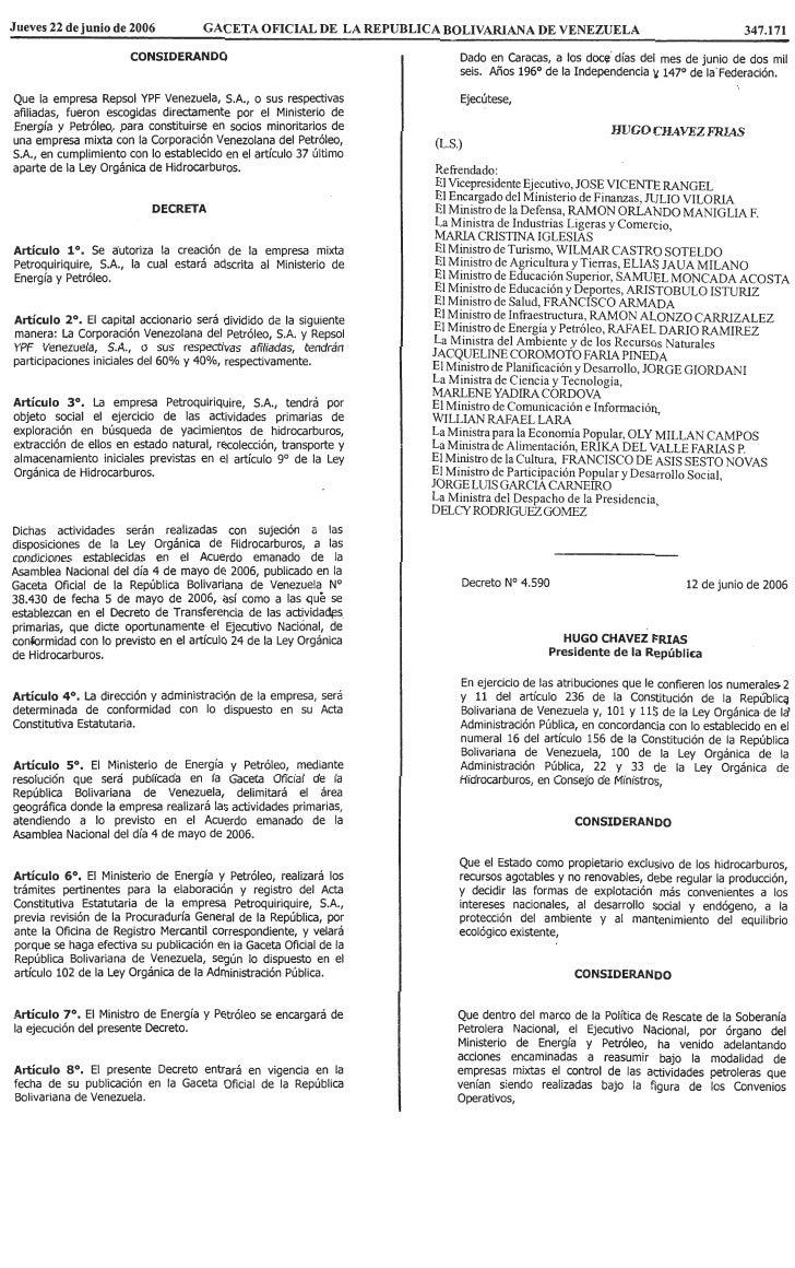 Decreto Nº 4.590, Mediante El Cual Se Autoriza La CreacióN De La Empresa Mixta Petroregional, S.A
