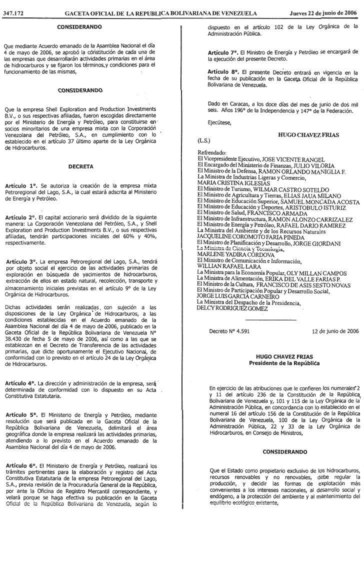 Decreto Nº 4.591, Mediante El Cual Se Autoriza La CreacióN De La Empresa Mixta Petrocabimas, S.A