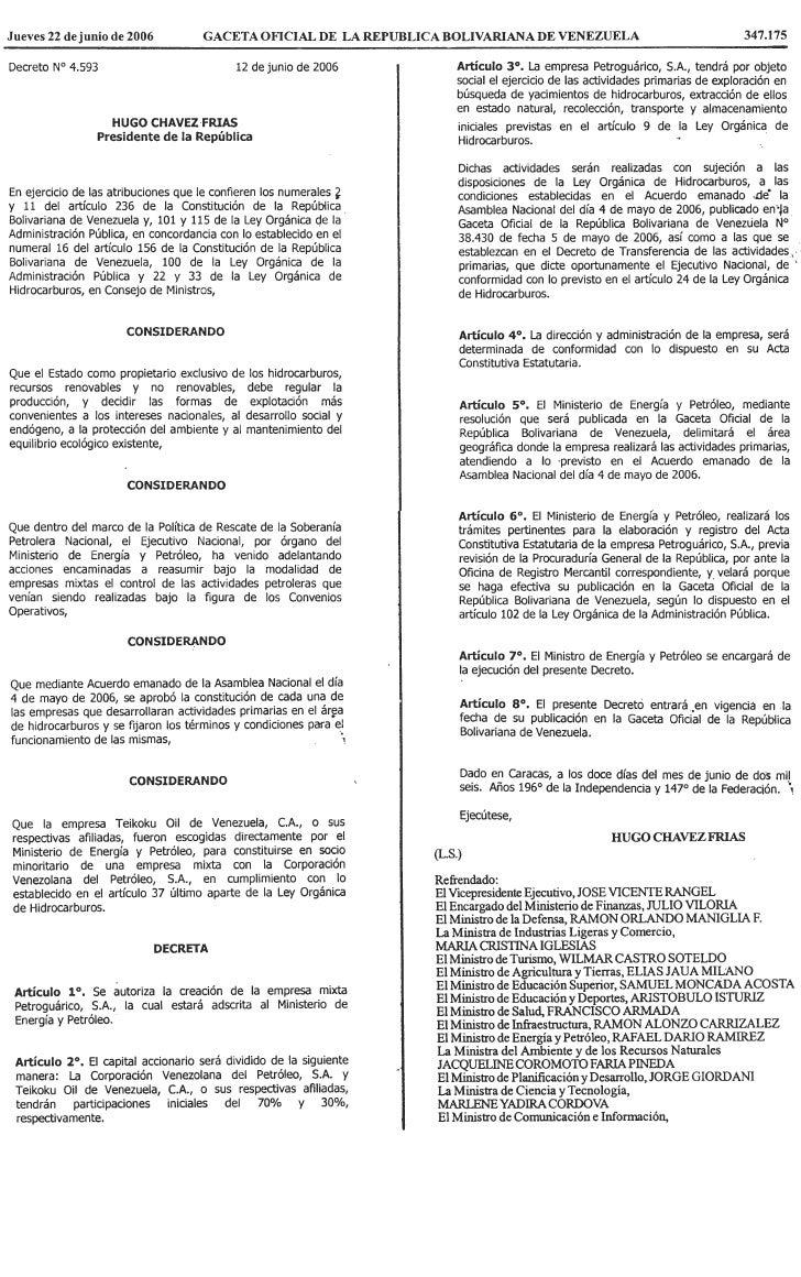 Decreto Nº 4.593, Mediante El Cual Se Autoriza La CreacióN De La Empresa Mixta PetroguáRico, S.A