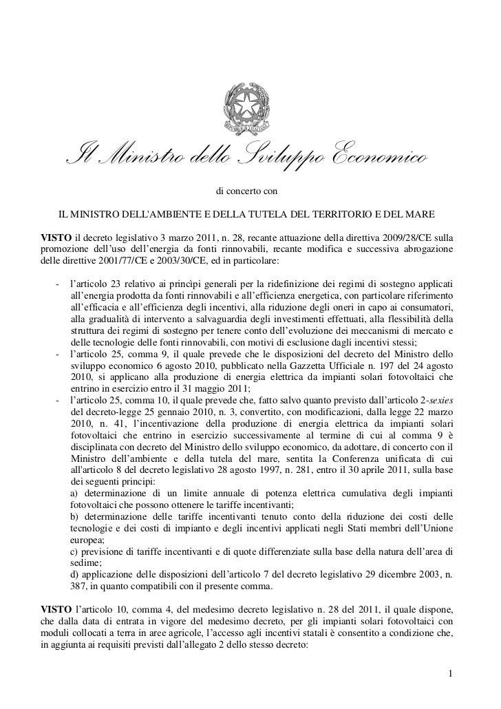 Decreto quarto-conto-energia firmato