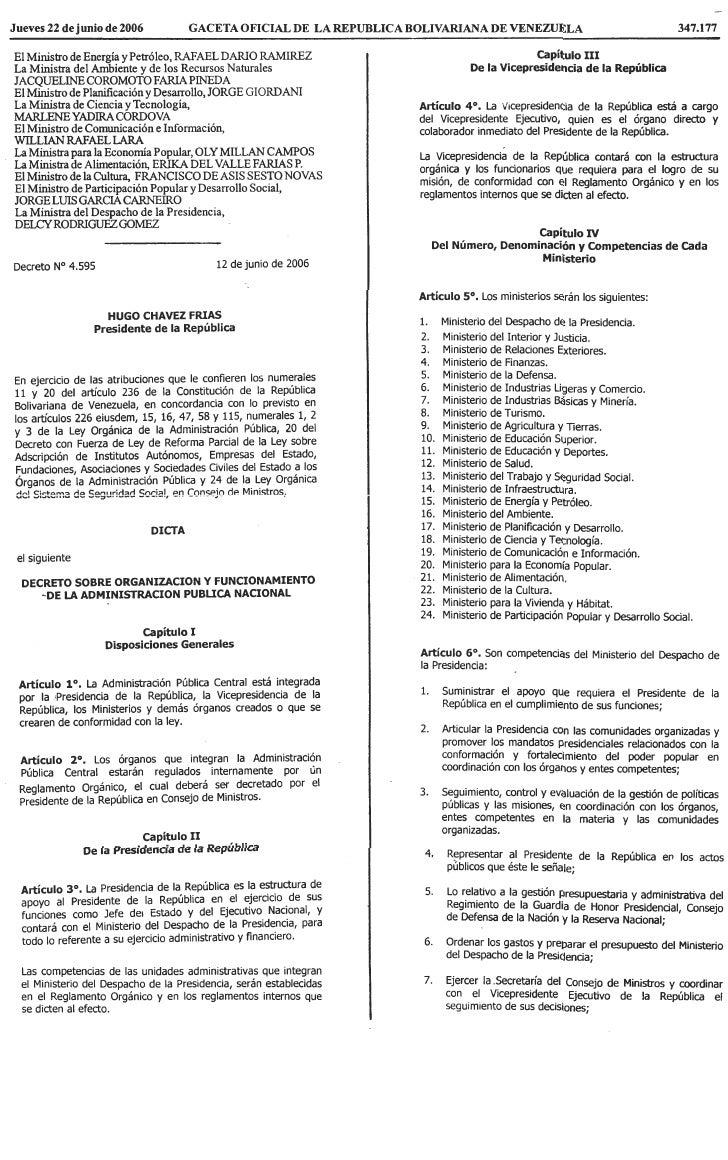 Decreto Sobre OrganizacióN Y Funcionamiento De La AdministracióN PúBlica Nacional.