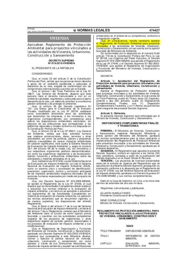 Decreto supremonro-015-2012-vivienda