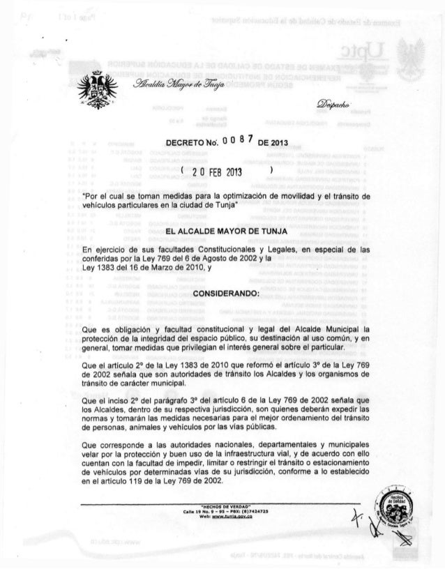 """DECRETO """"No. 0 0                                  DE 2013                             < 2 0 FEB 2013""""Por el cual se toman ..."""