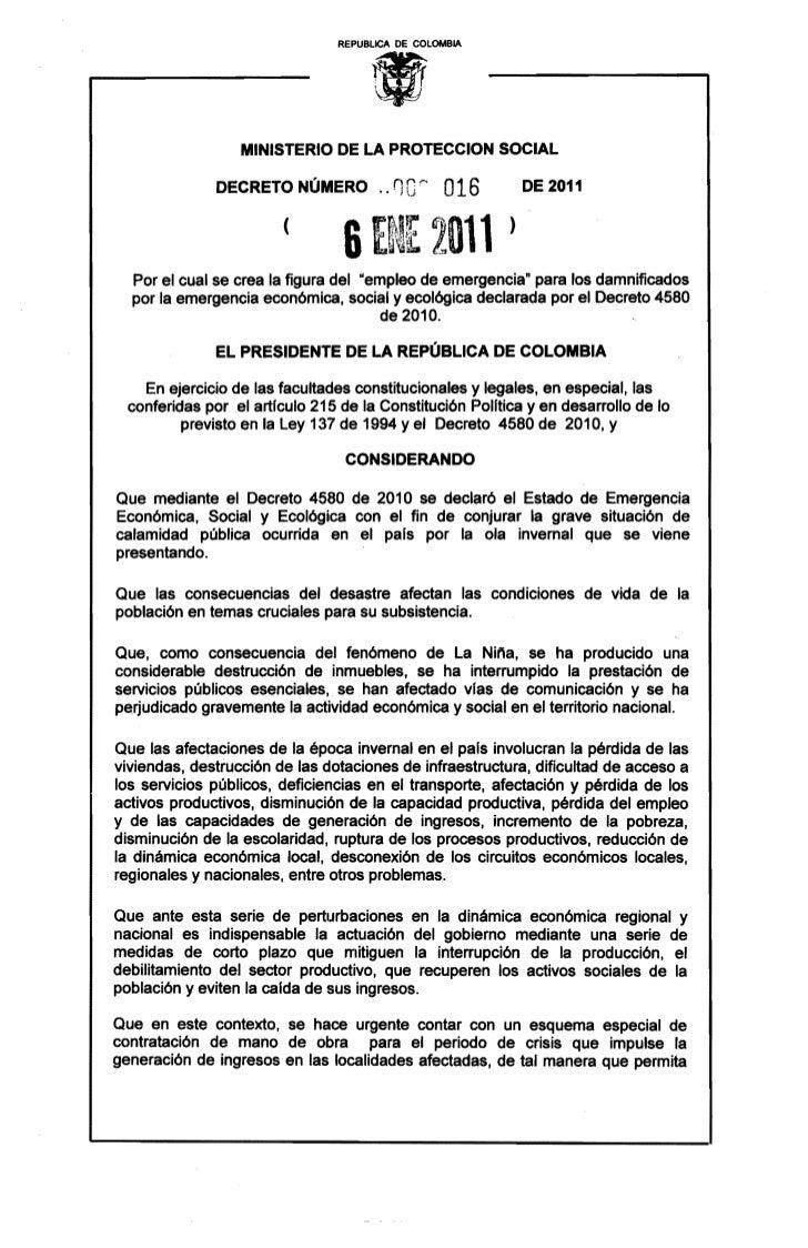 Decreto 016 2011 empleo de emergencia invernal 1