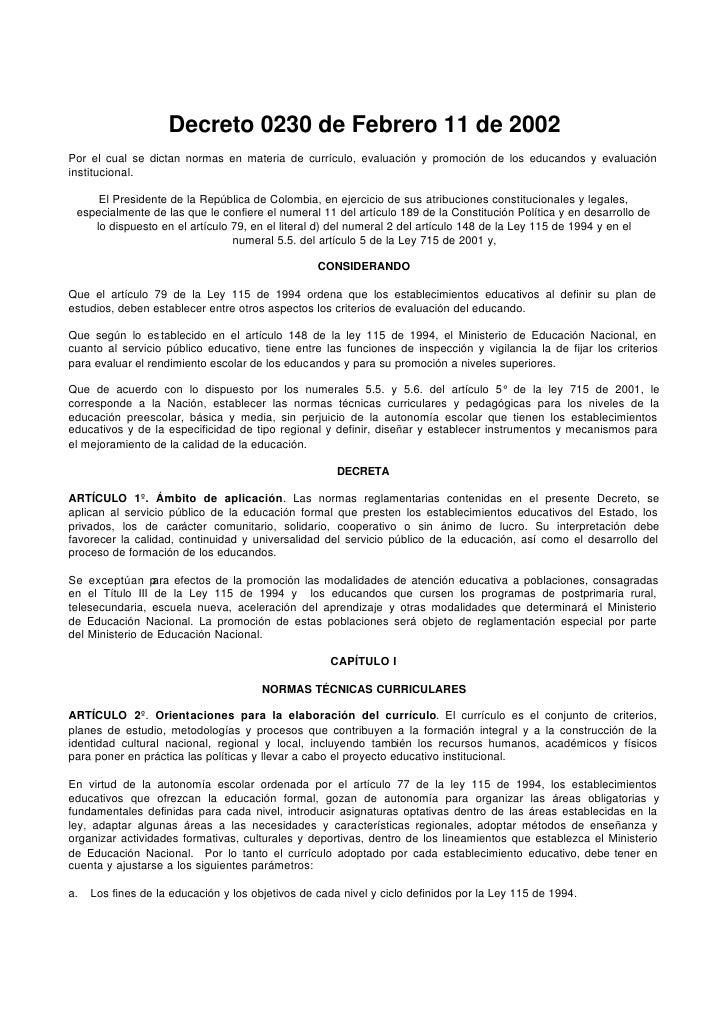 Decreto 0230 de Febrero 11 de 2002 Por el cual se dictan normas en materia de currículo, evaluación y promoción de los edu...