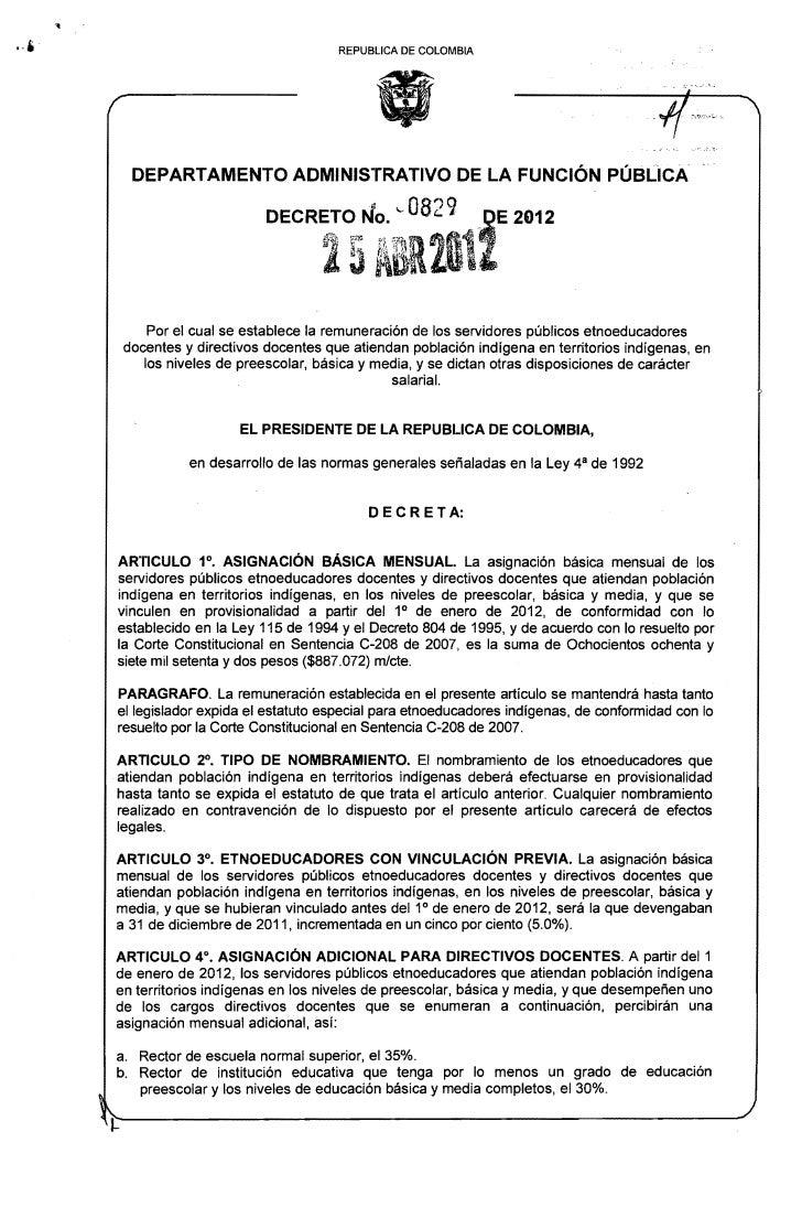 REPUBLlCA DE COLOMBIA  DEPARTAMENTO ADMINISTRATIVO DE LA FUNCiÓN PÚBLICA                       DECRi1t¡ -0821 i E         ...