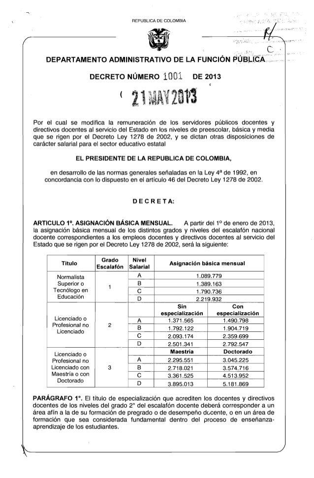 Decreto 1001 del 21 de mayo de 2013  salarios 1278