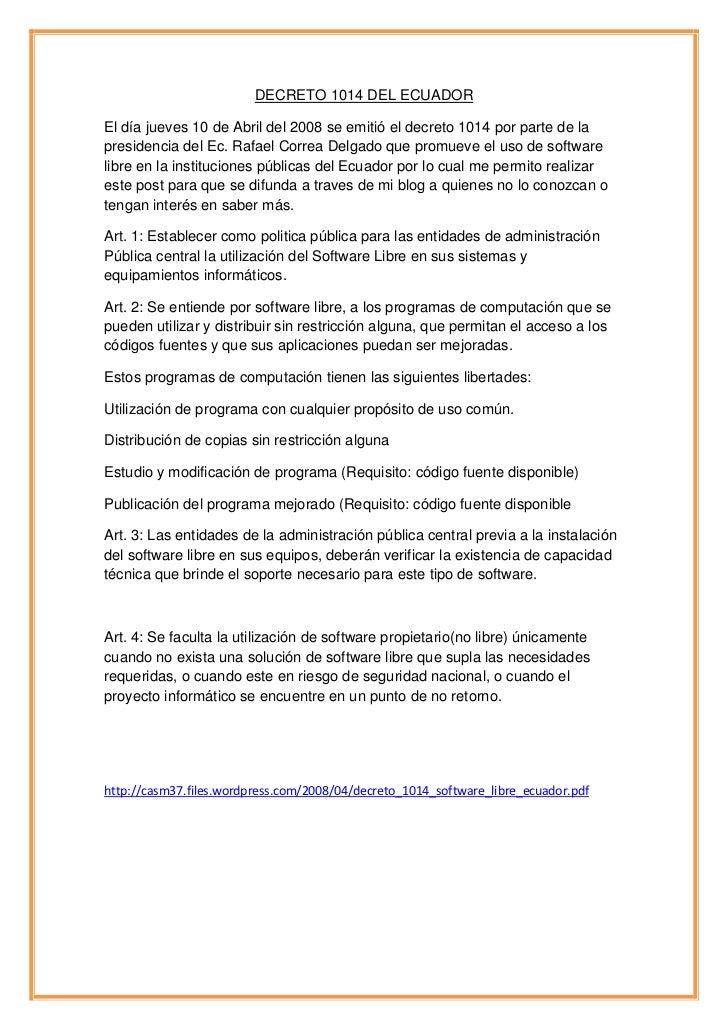 Decreto 1014 del ecuador