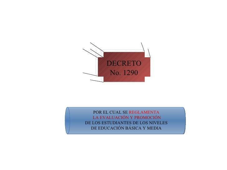 DECRETO No. 1290 POR EL CUAL SE  REGLAMENTA LA EVALUACIÓN Y PROMOCIÓN DE LOS ESTUDIANTES DE LOS NIVELES DE EDUCACIÓN BÁSIC...