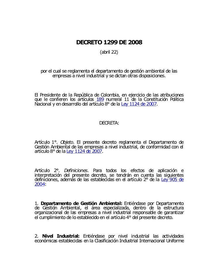 TLC Decreto 1299 2008