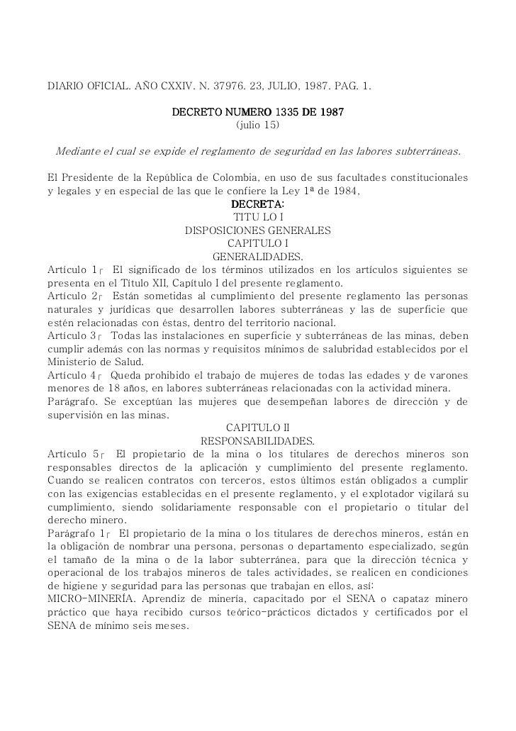 Decreto 1335 1987