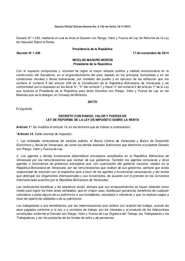 Gaceta Oficial Extraordinaria No. 6.152 de fecha 18/11/2014  Decreto N° 1.435, mediante el cual se dicta el Decreto con ...