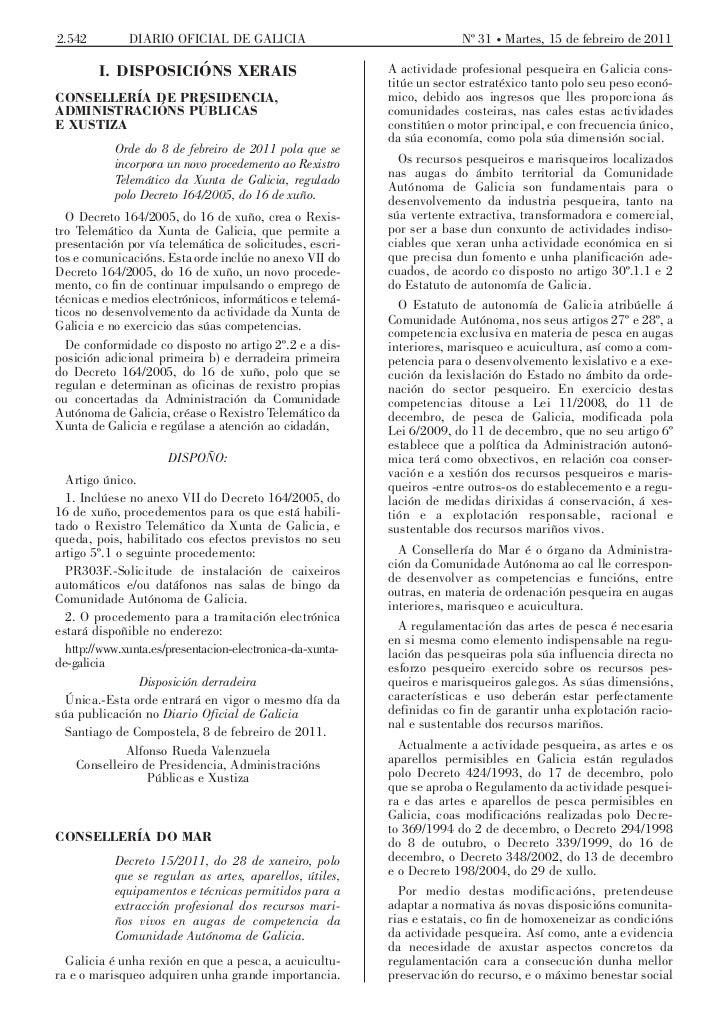 Decreto 15 2011 de 28 de xaneiro de artes