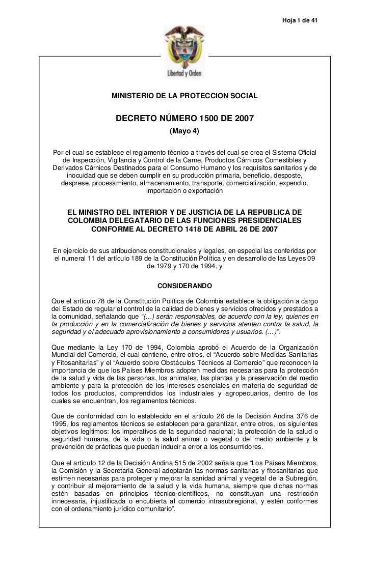 Hoja 1 de 41                    MINISTERIO DE LA PROTECCION SOCIAL                      DECRETO NÚMERO 1500 DE 2007       ...