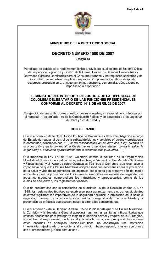 Hoja 1 de 41 MINISTERIO DE LA PROTECCION SOCIAL DECRETO NÚMERO 1500 DE 2007 (Mayo 4) Por el cual se establece el reglament...