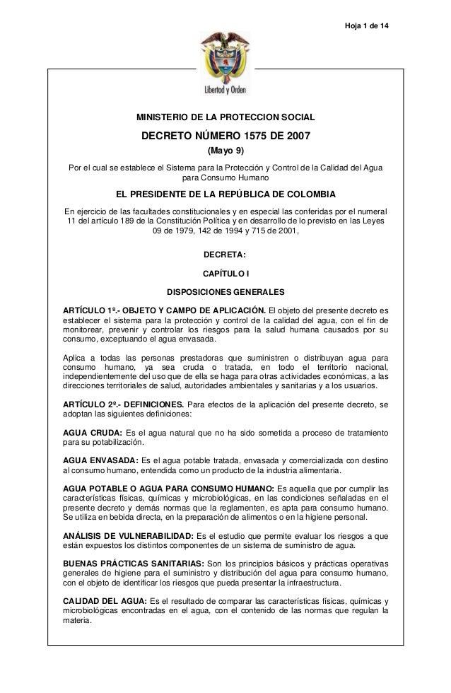 Hoja 1 de 14 MINISTERIO DE LA PROTECCION SOCIAL DECRETO NÚMERO 1575 DE 2007 (Mayo 9) Por el cual se establece el Sistema p...